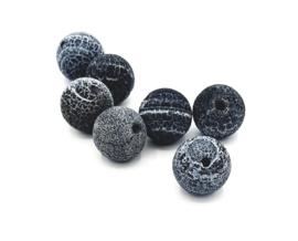 Mooie Fire Agaat kralen in mat zwart/grijs 10 mm.