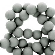 60 stuks Acryl kralen Licht grijs mat 6mm
