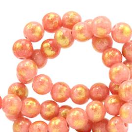 6 mm natuursteen kralen Koraal roze-goud