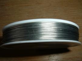 100 Meter rol gecoat staaldraad 0.45 mm. in de kleur zilver.