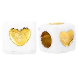 Letterkralen hartjes White-goud  vierkant