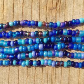 Glaskralen Rocailles  Blauw 2-4 mm. 15 gram