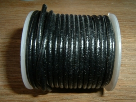 Rond DQ leerkoord van 2 mm. in een mooie zwarte kleur