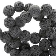 10 stuks 8 mm natuursteen kralen mat Lava Anthracite Grey