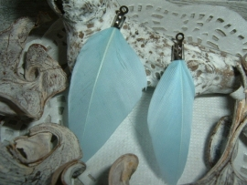 Mooie licht saffier blauwe veertjes 4 cm.
