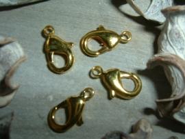 Mooie goudkleurige karabijnsluitingen 14 mm.