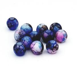 30 Stuks mooie gemêleerde Cobalt blauw glaskralen 8 mm.