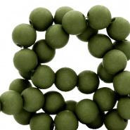 50 stuks Acryl kralen mat Dusty olive 8mm.