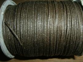 Waxkoord in een mooie antraciet/bruine metallic kleur 1.0 mm.