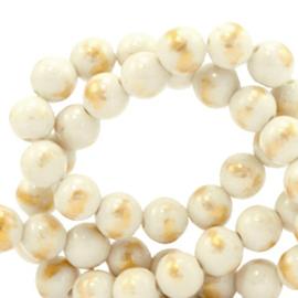 6 mm natuursteen kralen Beige-goud