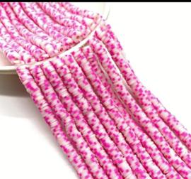 Katsuki kralen 5 mm  Roze/wit per streng (fluoriserend)