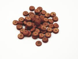 50 Stuks mooie cognacbruine kokos kralen disc 8 mm.
