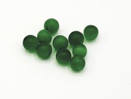 10 stuks groene cateye kralen 8 mm.