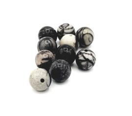 Mooie ronde zwarte jasper kralen met webmotief