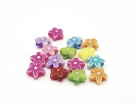15 Stuks mooie grote gekleurde kralen in de vorm van een bloem