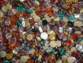100 gram gekleurde platte ronde glasmix
