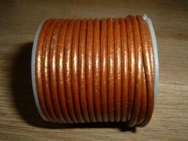 Rond DQ leerkoord van 2 mm. in een mooie koper metallic kleur