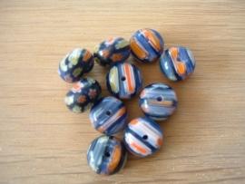10 Stuks mooie ronde platte millefiori kralen in donkerblauw