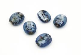 Mooie grote aquablauwe zilverfolie glaskralen met  20 mm.