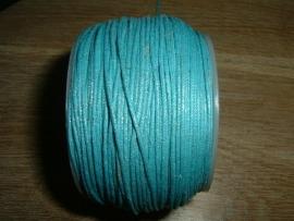 Waxkoord in een mooie aquablauwe metallic kleur 0.5 mm.