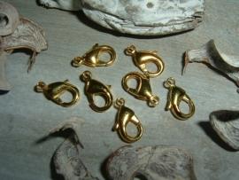Mooie goudkleurige karabijnsluitingen 12 mm.