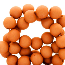 60 stuks Acryl kralen sandstone oranje 6 mm.