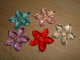Mooie grote transparant gekleurde bloemen kralen