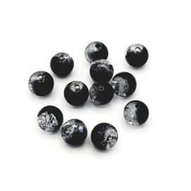 12 stuks transparant/zwarte crackle kralen 8 mm.