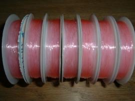 Elastisch nylondraad roze 0.6 mm.