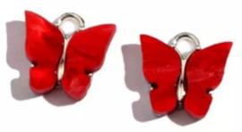 Bedel vlinder zilver Rood