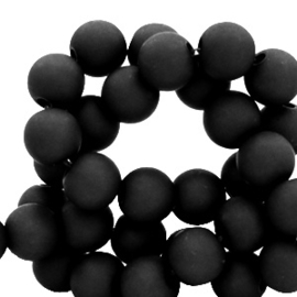60 stuks Acryl kralen Black mat 6mm