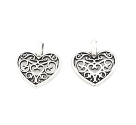 DQ metalen bedel in de vorm van een hartje Antiek zilver