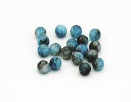 50 Stuks mooie gemêleerde aquablauw/bruine glaskralen 6 mm.