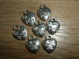 """Mooie zilverkleurige bedeltjes """"LOVE MY DOG"""""""