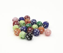 20 Stuks mooie gekleurde ronde kralen met glittersterretjes
