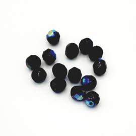 20 stuks zwarte facetkralen met AB glans van 6 mm.