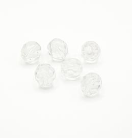 15 stuks transparante facet kralen van 10 mm.