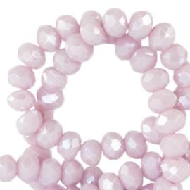 25 Stuks mooie Top Facet kralen in paars/rose parel glans  4 x 3 mm.
