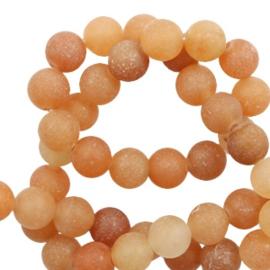 10 stuks Natuursteen kralen mat Sandstone peach 6 mm.