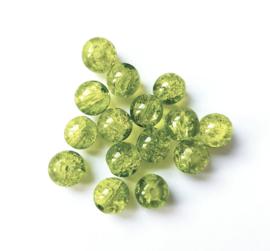 Crackle kralen (appeltjes) groen 8 mm.