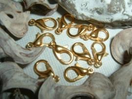 Mooie DQ metalen goudkleurige karabijn sluitingen (nikkelvrij) van 12 mm.