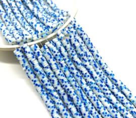 Katsuki kralen 5 mm  blauw/wit per streng (fluoriserend)