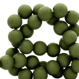 60 stuks Acryl kralen olijf groen 6 mm.