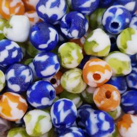 Mooie gekleurde glaskralen 10 mm.