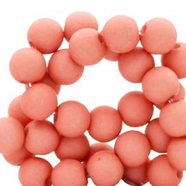 60 stuks Acryl kralen Coral red mat 6mm