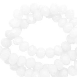 25 stuks mooieTop Facet kralen disc  zacht wit parel glans 4x3 mm