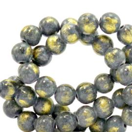 6 mm natuursteen kralen Grijs-goud