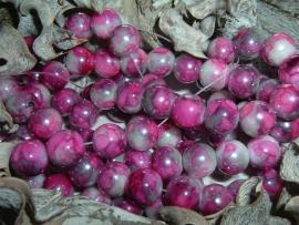 25 Stuks mooie gemêleerde fuchsia/paarse glaskralen 10 mm.
