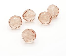 10 stuks grote transparant roze facet kralen van 12 mm.