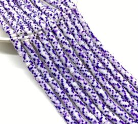 Katsuki kralen 5 mm  paars/wit per streng (fluoriserend)